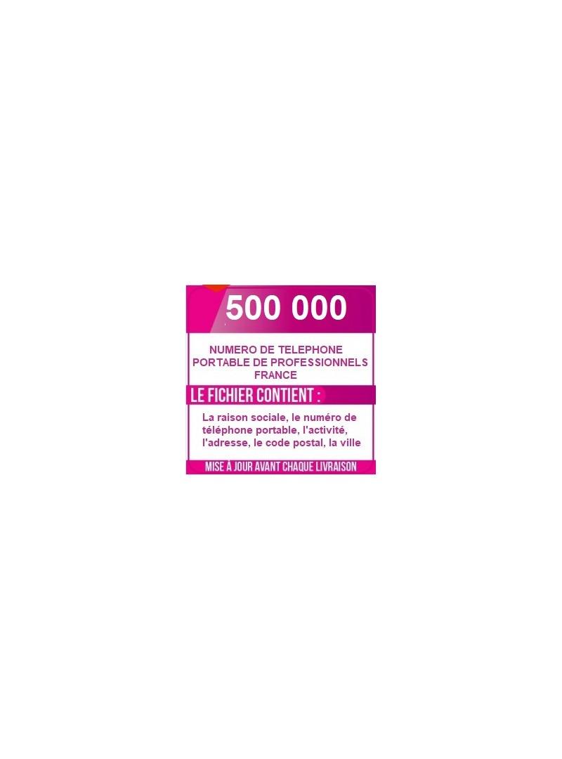 500 000 NUMÉRO DE TÉLÉPHONES PORTABLES D ENTREPRISE DE FRANCE