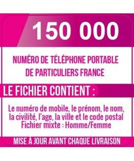 150 000 NUMÉROS DE TÉLÉPHONES PORTABLES DE PARTICULIERS DE FRANCE