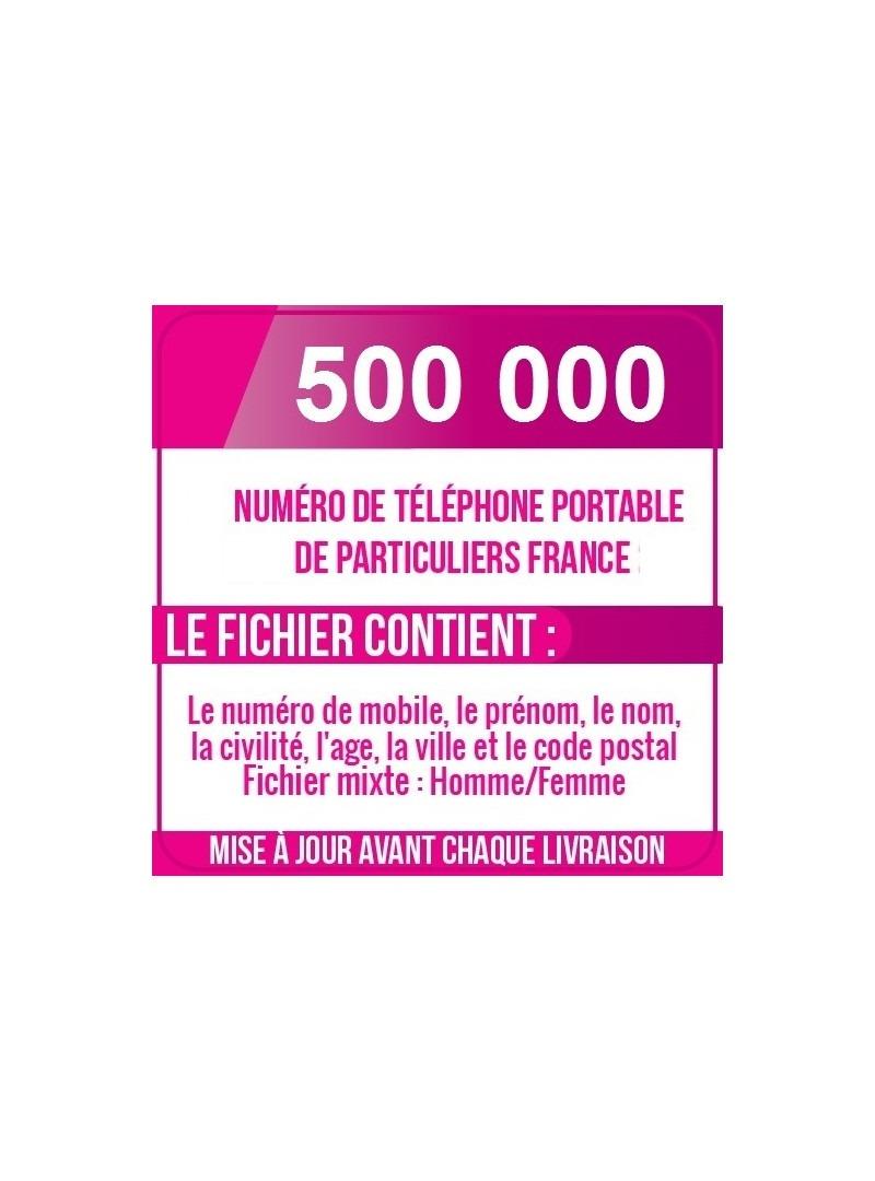 500 000 NUMÉROS DE TÉLÉPHONES PORTABLES DE PARTICULIERS DE FRANCE