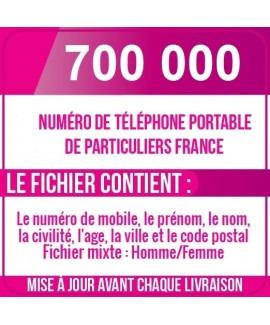 700 000 NUMÉROS DE TÉLÉPHONES PORTABLES DE PARTICULIERS DE FRANCE